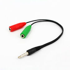 Male to 2 Dual Female Plug Audio Jack Stereo Headset Mic Splitter 3.5mm Cable