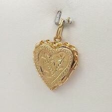 14K YELLOW GOLD HAND ENGRAVED HEART PHOTO LOCKET CHARM PENDANT 3.6gr