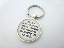 WINNIE THE POOH YOU ARE SMARTER THAN YOU THINK QUOTE ROUND SILVER KEYRING