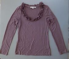 BODEN Light Purple Ruffled Scoop Neck Cotton light Spring Knit Top UK 8 / US 4