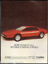 1979 LOTUS ESPIRIT S2 advertisement, Lotus sports car, British advert.