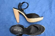 NEW NINE WEST Black Leather & Fabric SHOES HEEL Size 8.5 RRP$149 STATEMENT SHOES