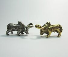 """Dual Thai Fighting""""Gold&Silver Cow Thanu""""Amulet Statue carved Mantra on Surface"""
