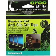 Croc Grip GLOW-IN-THE-DARK ANTI-SLIP GRIT TAPE 48mmx5m Roll, Black With Stripe