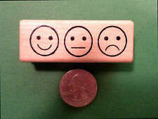 3 Smileys in a Row, Wood Mounted Teacher's Stamp
