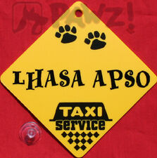 LHASA APSO Dog Taxi Service Car Window Yellow SIGN
