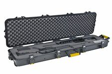 Rifle Case Double Scoped with Wheels Black Hunting Gun Watertight Rugged Plano