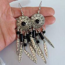 Womens Vintage Bohemian Boho Hippy Anti Silver Hookie Drop Dangle 10 cm Earrings