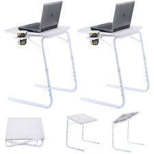 2 x Table Adjustable PC TV Laptop Desk Tray Home Office s/ Cup Holder White