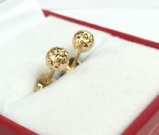 18k Solid Yellow Gold Small Ball Stud Earrings, Diamond Cut 0.87grams