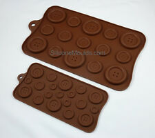 2 pc BUTTON MOULD SET Chocolate Candy Cookies Silicone Bakeware Sugarpaste Pan