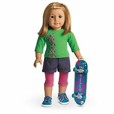American Girl SKATEBOARD SET CHARM retired top shorts tights shoes  no doll