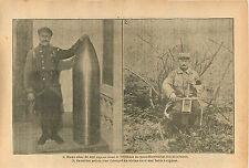 Poilus Violon / Exposition Paris Obus de 400 Secrétariat   WWI 1916 ILLUSTRATION