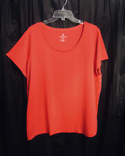 LANDS END CORAL 100% SUPIMA COTTON STRETCH KNIT S/S TOP T-SHIRT~1X-16W-18W~0X~NW