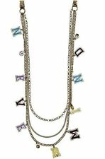 Brand NEW - Betsey Johnson 'Nevermind'' Charm Long Multi-Row Necklace