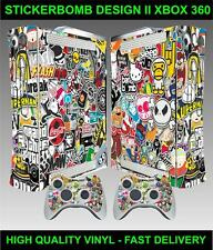 XBOX 360 CONSOLE STICKERBOMB VERSION II AUTOCOLLANT PEAU & 2 MANETTE STICKERS