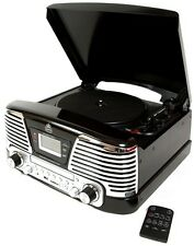 Turntable Records Vinyl Music Centre CD Radio 3 Speed FM Record Music Black