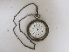 ANTIQUE OTTOMAN SILVER BUTTES KEY WIND POCKET WATCH  BRASS CHAIN-1860