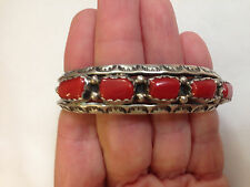 Vintage Native American Red Coral Sterling Silver Cuff Bracelet 27.8 Grams by H