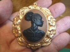 (CA20-3) RARE African American LADY brown + black oval CAMEO Pin Pendant JEWELRY