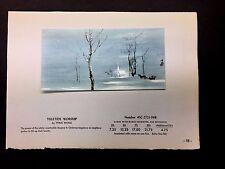 """Disney Artist Tyrus Wong 1957 Sample Xmas Greeting Card  """"YULETIDE WORSHIP"""""""