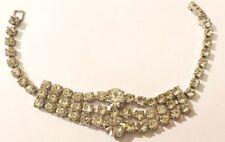 bracelet ancien cristaux diamant bijou vintage couleur argent * 4106
