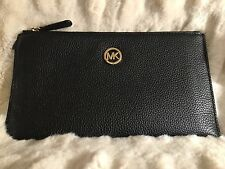 NWT MICHAEL KORS FULTON LEATHER LARGE ZIP CLUTCH/WRISTLET IN BLACK