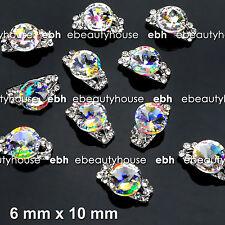 10 Pcs Alloy Jewelery 3D DIY AB Rhinestone Nail Art Glitters #EJ-266A