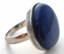 Sterling Silver Lapis Lazuli Ring Size 9 Large Round Blue Gemstone TGGC 925