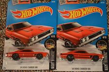 2016 Hot Wheels J Case x2 '69 Dodge Charger 500 Burnerz Red Muscle 1:64