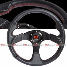 Universal Jet Black 350mm Red Stitches PVC Leather Steering Wheel with Horn JDM