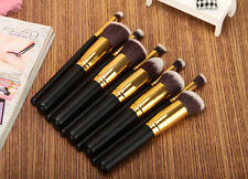 10pcs Kabuki Style Professional Make up Brush Set Foundation Blusher Black/Gold