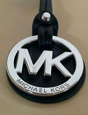 New Michael Kors MK Silver Charm / Black Genuine Leather Long Strap Handbag Fob