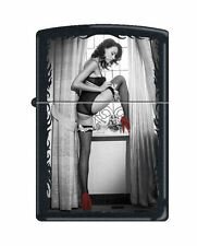 Zippo Lighter: Red Shoe Girl Number Ten - Black Matte *Sexy Pin-up Girl*