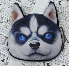 HUSKY DOG Pup Wolf DOGGY 3D Photo COIN PURSE, Lined Gift Bag Wallet, UK Sale