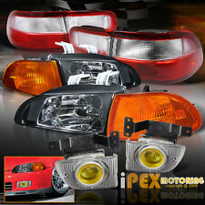 92-95 Honda Civic 4Dr EG8 EH9 JDM Black Headlight +Corner+Yellow Fog+Tail Light