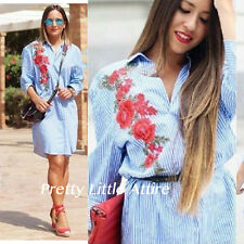 ZARA SHIRT DRESS WITH PATCH EMBROIDERY LONG BLOUSE BLUE/WHITE MEDIUM BLOGGERS
