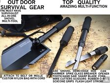 Outdoor Survival Gear All-In-One Camping Shovel Multitool SHTF & BOB Must Have