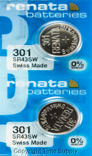2 pcs Renata 301 Watch Batteries 301SR43SW SR43 301 9902 0% MERCURY