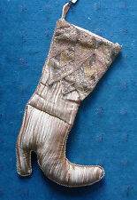 "Pier 1 Christmas 20"" Stocking ladies high heel boot gold beaded cuff stiletto"