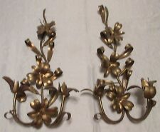 """VTG Pr 21"""" Gold Gilt Iron Italy LILY Flower CANDLE WALL SCONCE Hollywood Regency"""