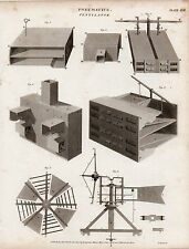 1817 GEORGIAN PRINT ~ PNEUMATICS VENTILATOR ~ VARIOUS EQUIPMENT