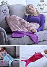KNITTING PATTERN Baby Ladies Easy Knit Mermaid Fishtail Blanket DK KingCole 4692