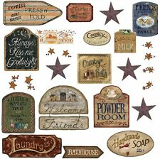 COUNTRY SIGNS 26 Wall Stickers Room Decor Western Decals Laundry Kitchen Stars