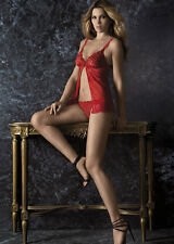 LORMAR Lingerie - Sexy Rose Baby Doll & Thong - Red Lace & Tulle - Branded Box