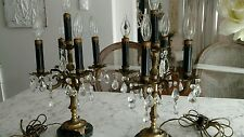 Shabby antique VTG pair table chandeliers lamps crystal prisms candelabra