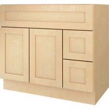 "New Bathroom Vanity Drawer Base Cabinet Natural Maple Shaker 36"" Wide x 21"" Deep"