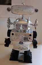 VINTAGE SPINNING RADAR ROBOT #902 RARE CLOCKWORK PLASTIC SPACE TOY 80's RETRO