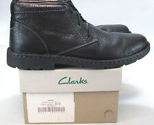 CLARKS Men's STRATTON LIMIT Leather Boots BLACK Size US 10.5 W  NEW IN BOX