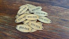 Vintage Brass Number Tags, Cow Tags, Vintage Locker Tags, Oval Number Plate